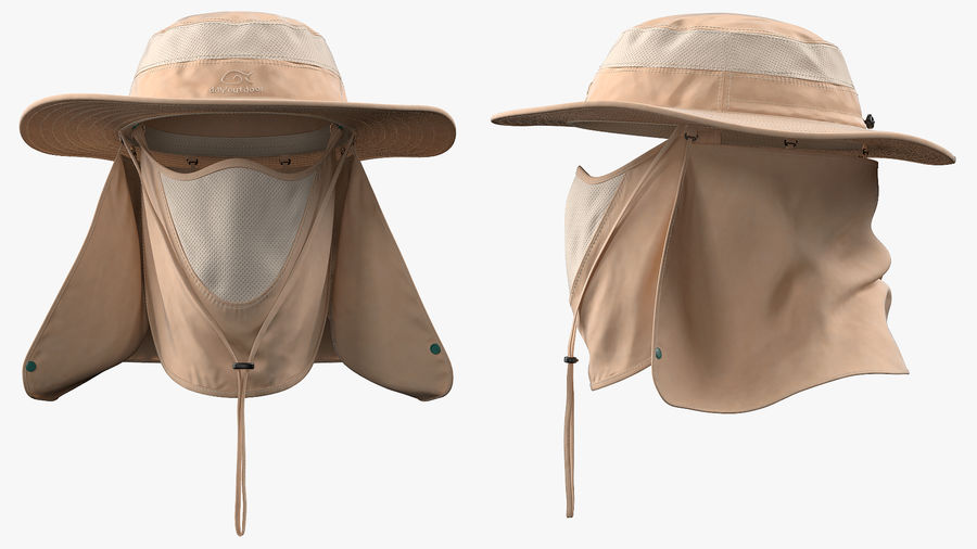 Khaki Outdoor Fishing Hat with Removable Neck Flap and Face Cover Mask royalty-free 3d model - Preview no. 8