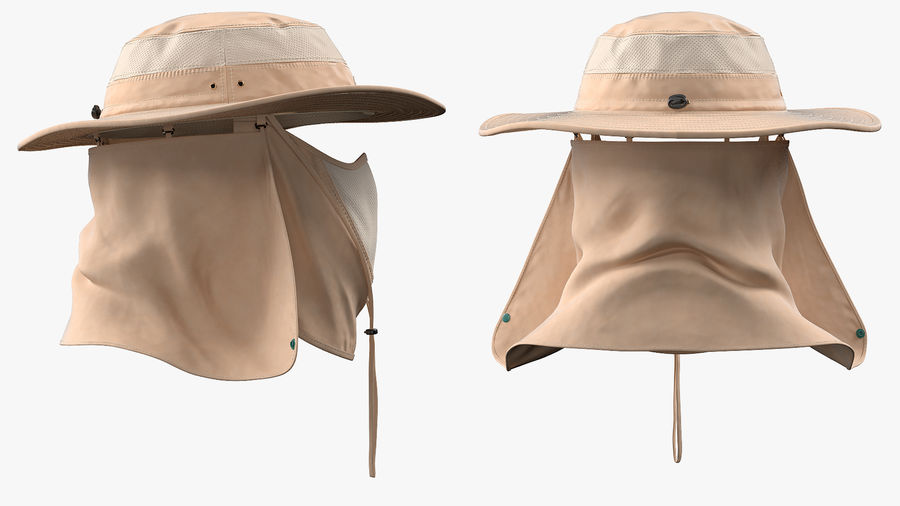 Khaki Outdoor Fishing Hat with Removable Neck Flap and Face Cover Mask royalty-free 3d model - Preview no. 9