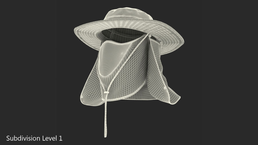Khaki Outdoor Fishing Hat with Removable Neck Flap and Face Cover Mask royalty-free 3d model - Preview no. 15