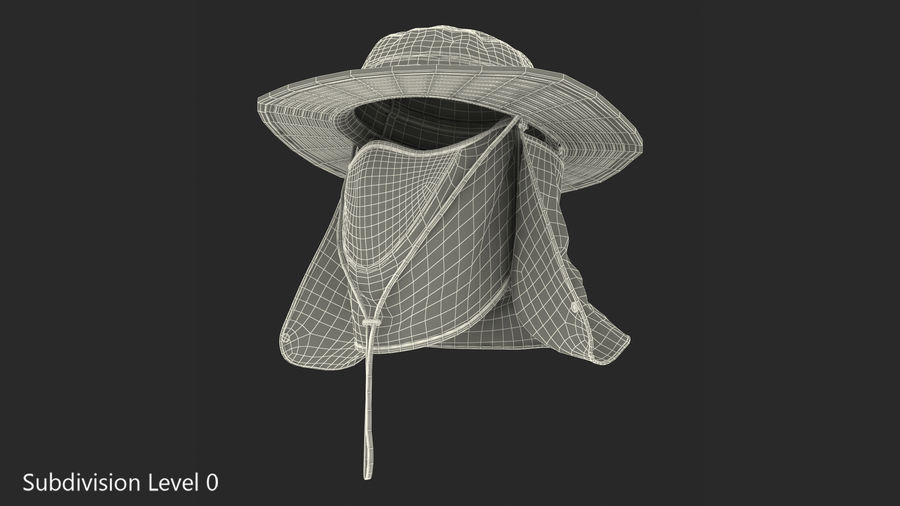 Khaki Outdoor Fishing Hat with Removable Neck Flap and Face Cover Mask royalty-free 3d model - Preview no. 14