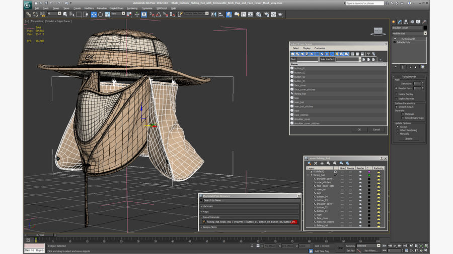 Khaki Outdoor Fishing Hat with Removable Neck Flap and Face Cover Mask royalty-free 3d model - Preview no. 20