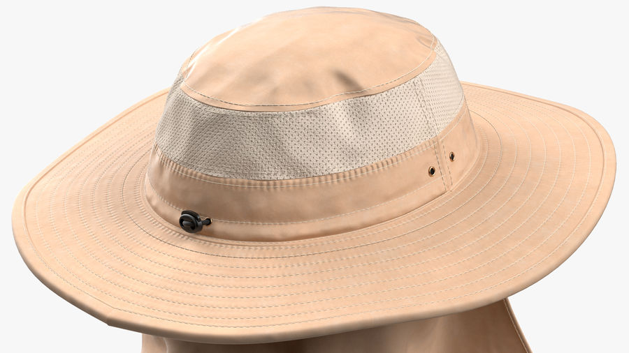 Khaki Outdoor Fishing Hat with Removable Neck Flap and Face Cover Mask royalty-free 3d model - Preview no. 11