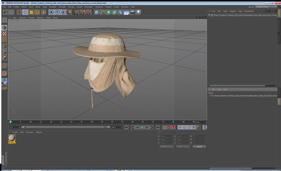 Khaki Outdoor Fishing Hat with Removable Neck Flap and Face Cover Mask royalty-free 3d model - Preview no. 19