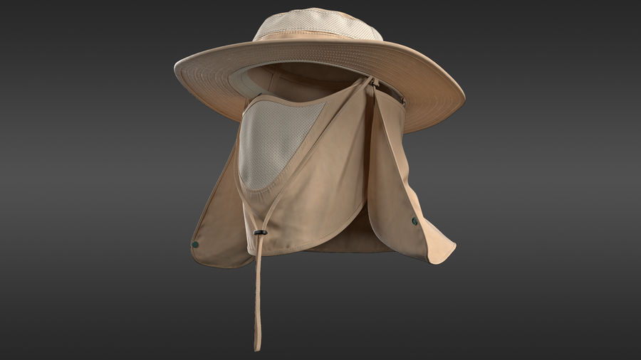 Khaki Outdoor Fishing Hat with Removable Neck Flap and Face Cover Mask royalty-free 3d model - Preview no. 2