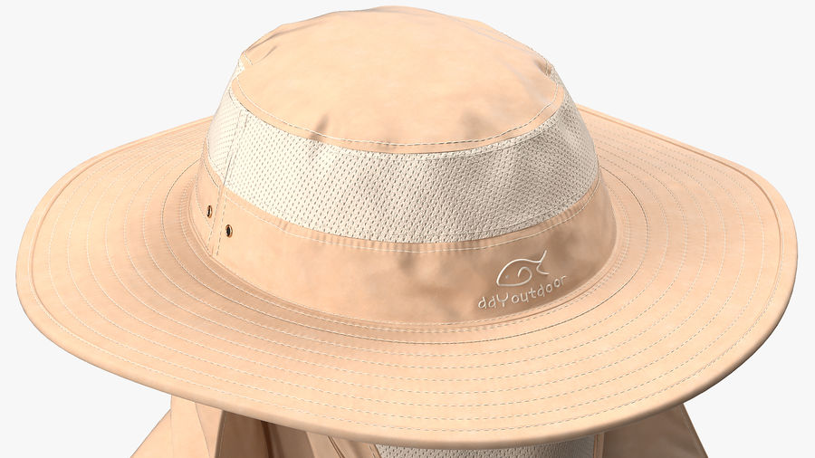 Khaki Outdoor Fishing Hat with Removable Neck Flap and Face Cover Mask royalty-free 3d model - Preview no. 10