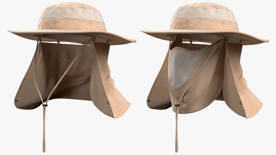 Khaki Outdoor Fishing Hat with Removable Neck Flap and Face Cover Mask royalty-free 3d model - Preview no. 6