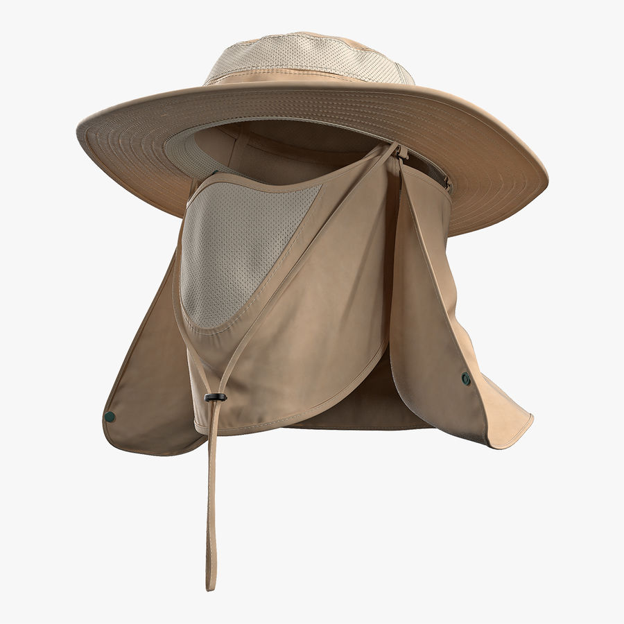 Khaki Outdoor Fishing Hat with Removable Neck Flap and Face Cover Mask royalty-free 3d model - Preview no. 1