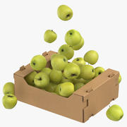 Cardboard Box 03 With Golden Delicious Apple Flying 3d model