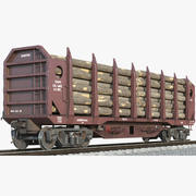 Logging Wagon With Firewood 3d model