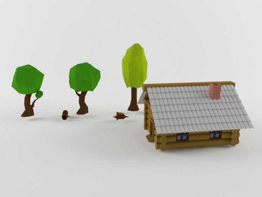 만화 나무와 오두막 royalty-free 3d model - Preview no. 2