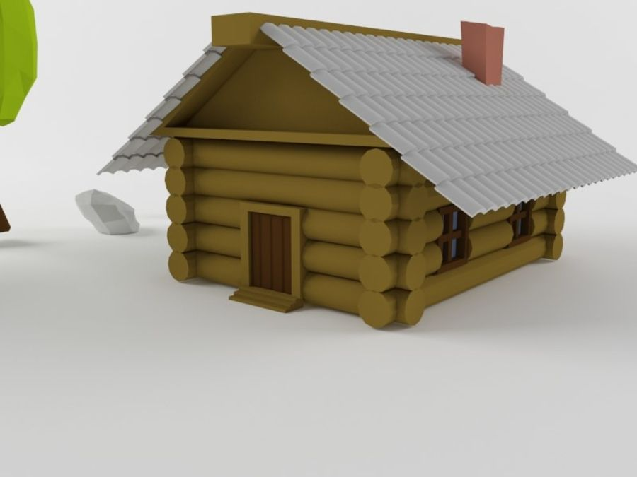 만화 나무와 오두막 royalty-free 3d model - Preview no. 4