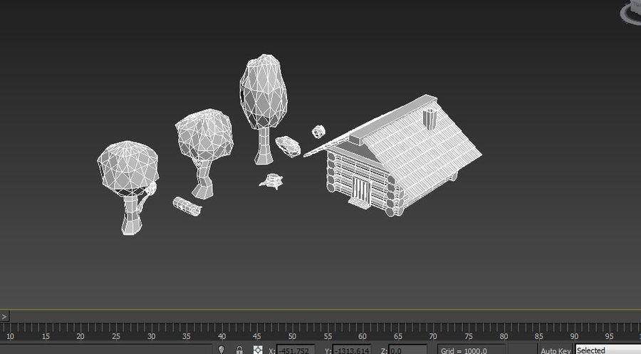 만화 나무와 오두막 royalty-free 3d model - Preview no. 10