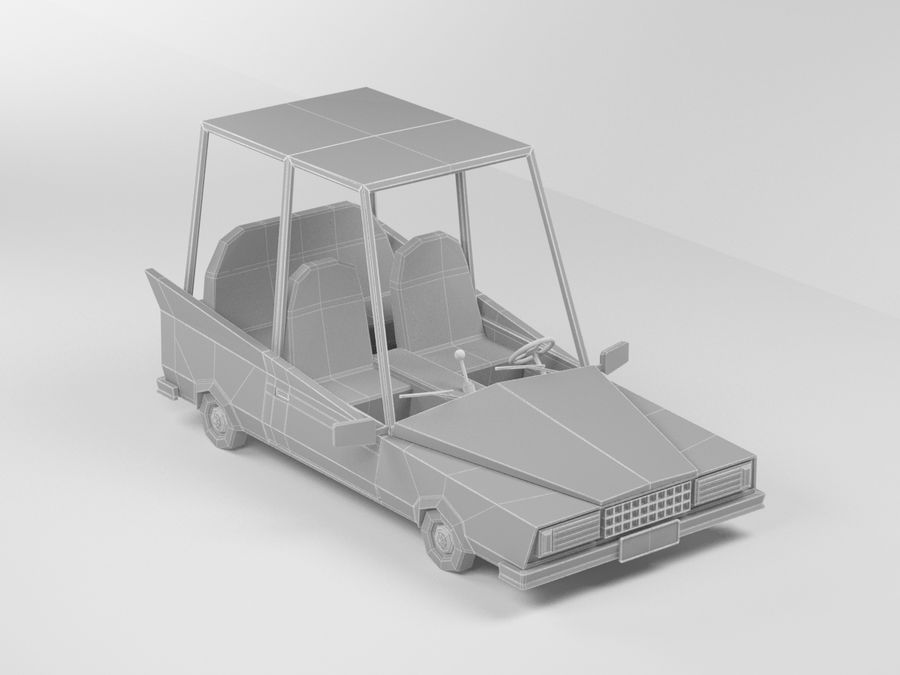 1970 년 차 만화 royalty-free 3d model - Preview no. 5