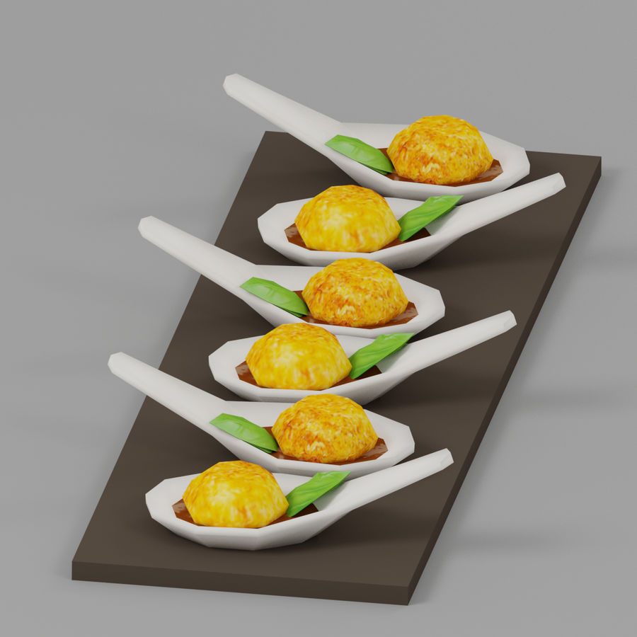 Party Food Mini Crab Cake royalty-free 3d model - Preview no. 5