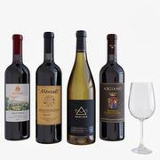 와인 병 세트 3 3d model