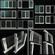 スライドステンドグラスアルミニウムドア 3d model