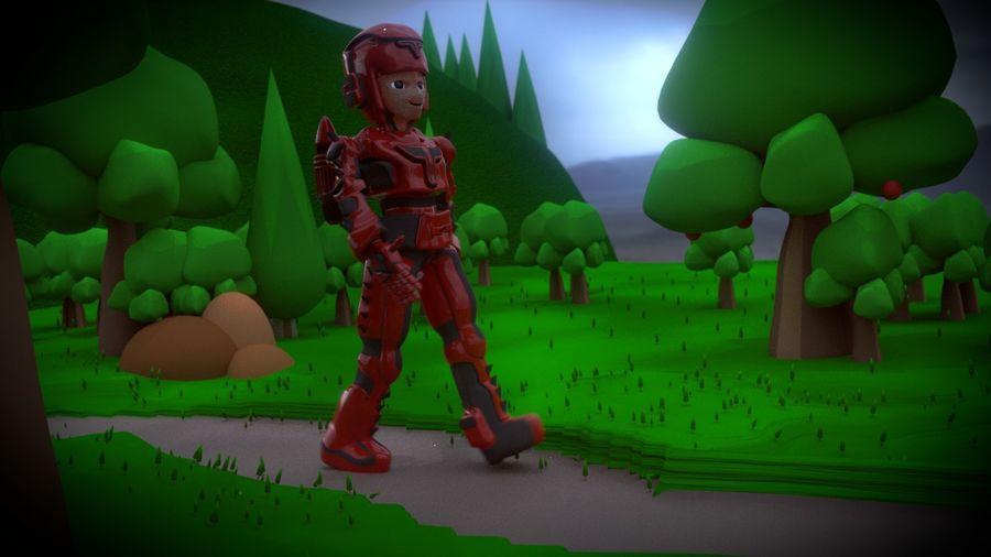 Космический робот мультипликационный персонаж royalty-free 3d model - Preview no. 7