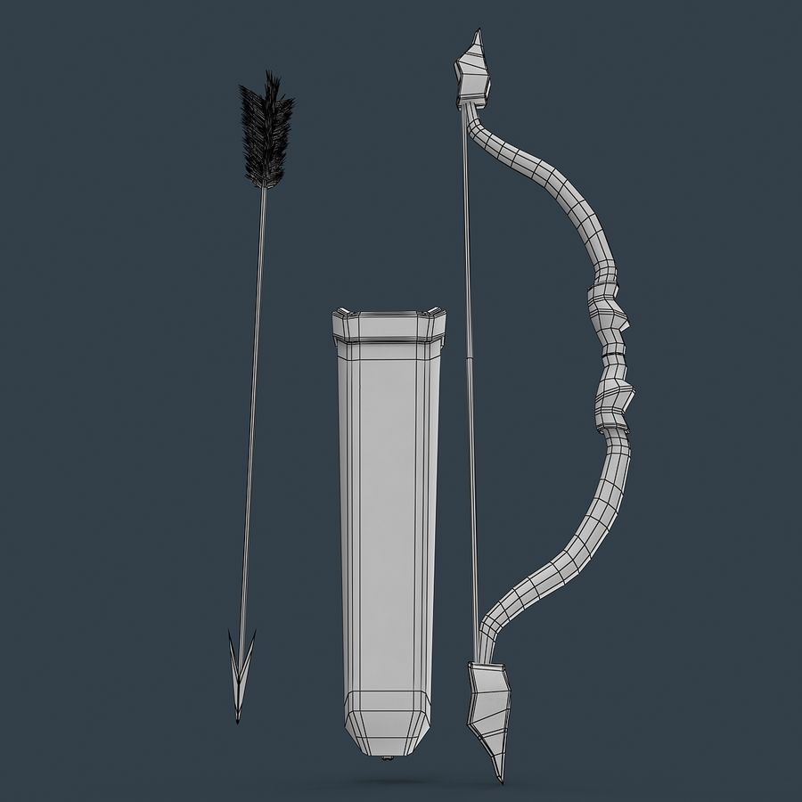 Bow and arrows royalty-free 3d model - Preview no. 11