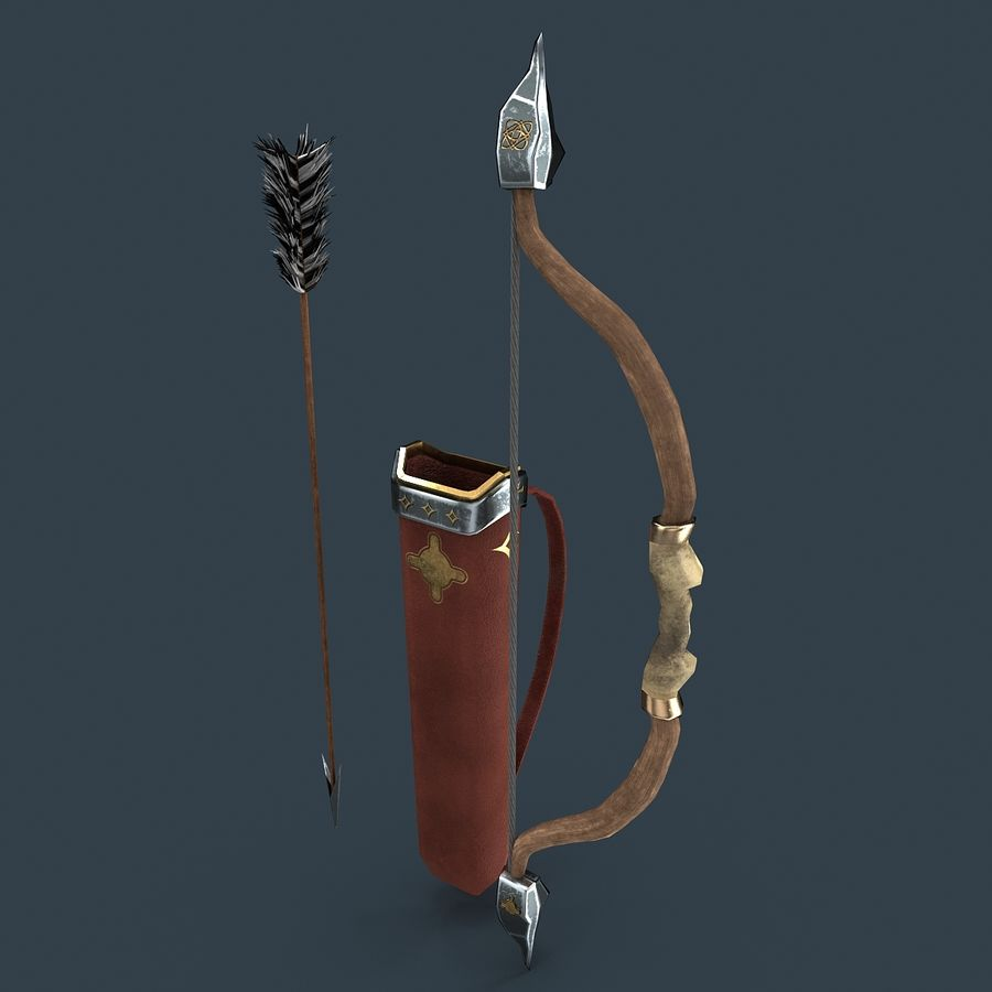 Bow and arrows royalty-free 3d model - Preview no. 3