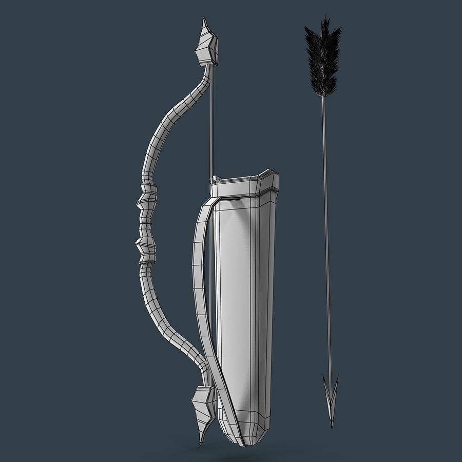 Bow and arrows royalty-free 3d model - Preview no. 10