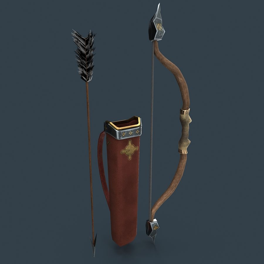 Bow and arrows royalty-free 3d model - Preview no. 1