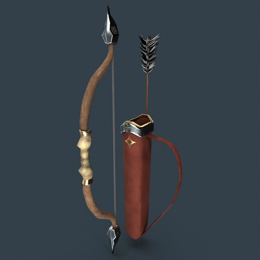 Bow and arrows royalty-free 3d model - Preview no. 4