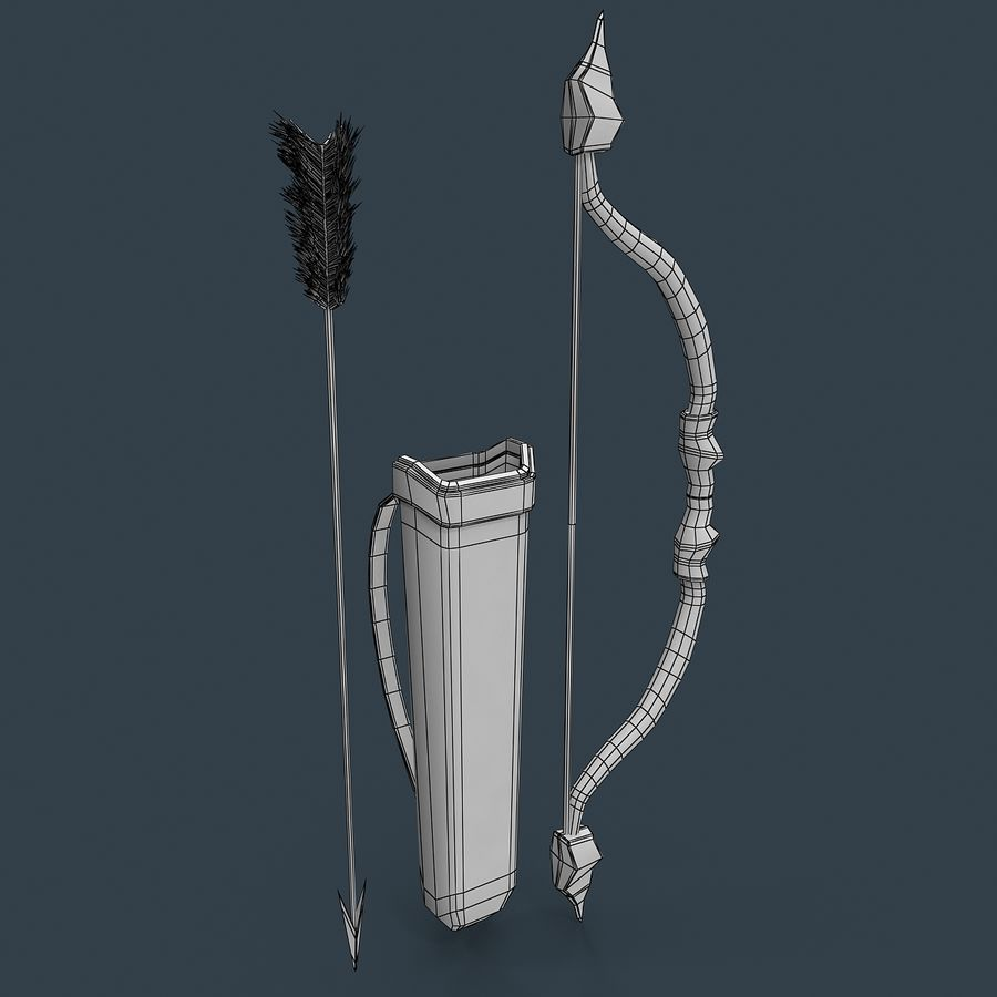 Bow and arrows royalty-free 3d model - Preview no. 7