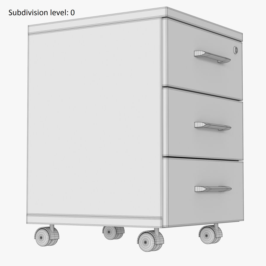 Office drawer cabinet royalty-free 3d model - Preview no. 8