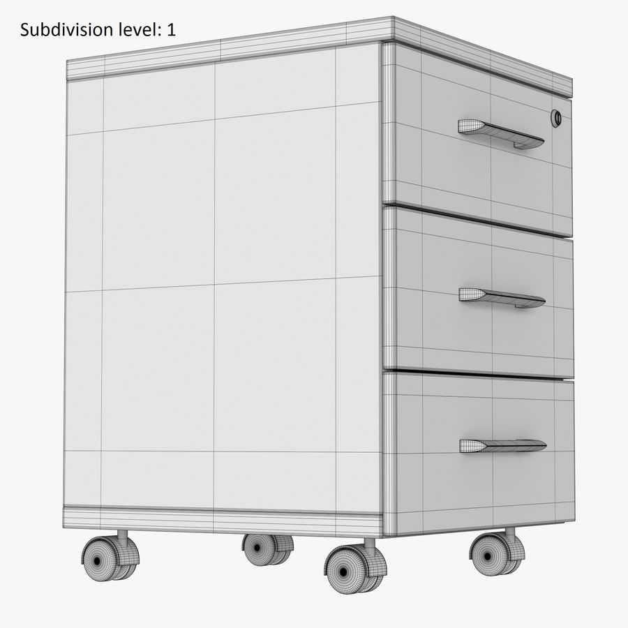 Office drawer cabinet royalty-free 3d model - Preview no. 9
