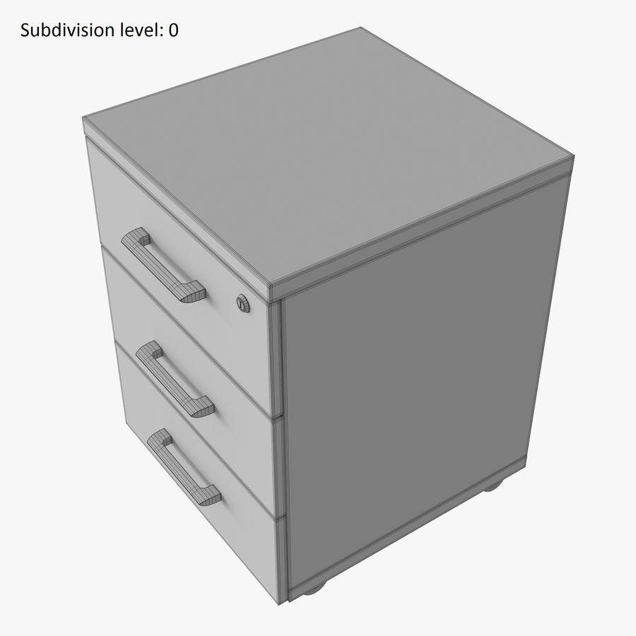 Office drawer cabinet royalty-free 3d model - Preview no. 10