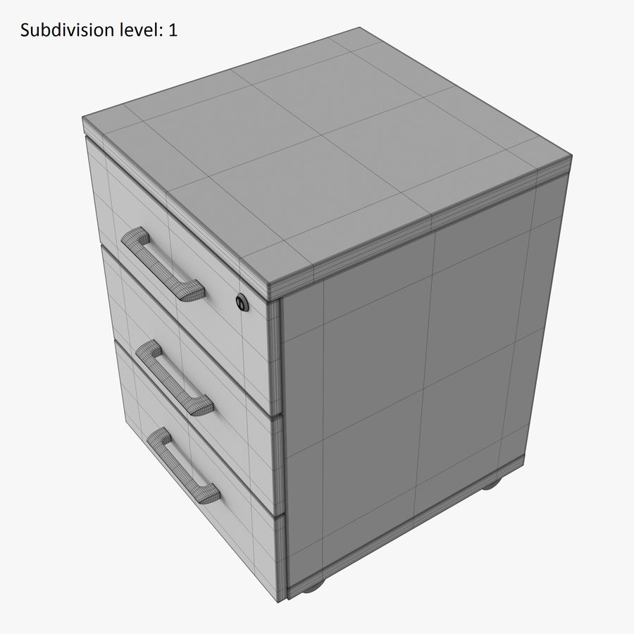 Office drawer cabinet royalty-free 3d model - Preview no. 11