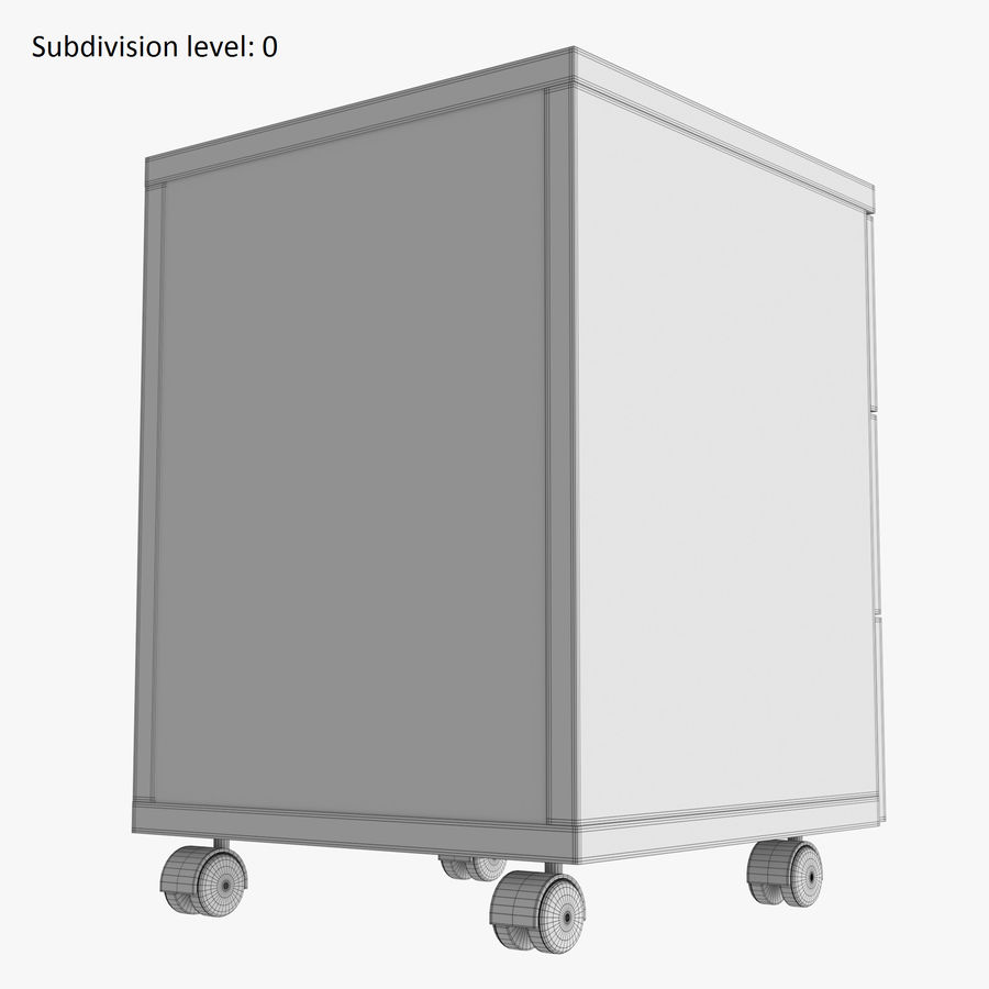 Office drawer cabinet royalty-free 3d model - Preview no. 12