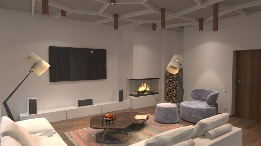 modernes Interieur royalty-free 3d model - Preview no. 2