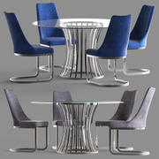 Diamond Sofa Capri Round Table and Vogue Dining Chair 3d model