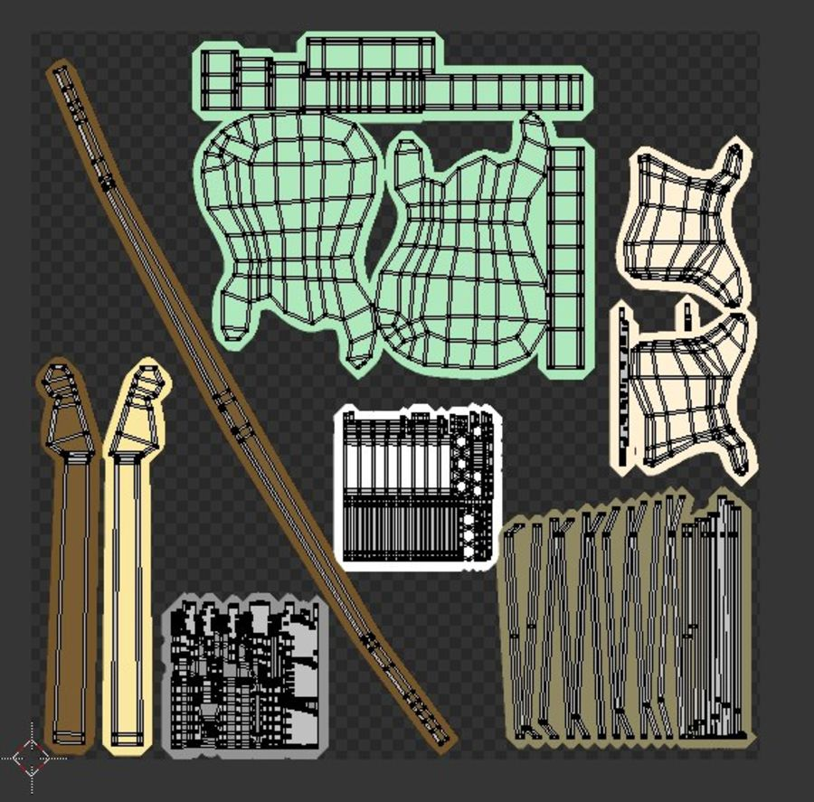 Guitarra elétrica royalty-free 3d model - Preview no. 9