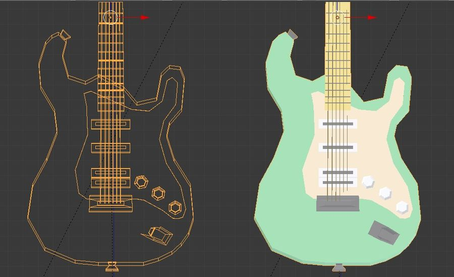 Guitarra elétrica royalty-free 3d model - Preview no. 6