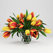vase avec tulipes 3d model