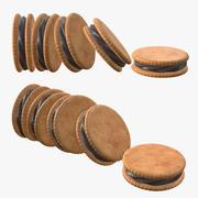 Biscotti sandwich con ripieno al cioccolato 3d model