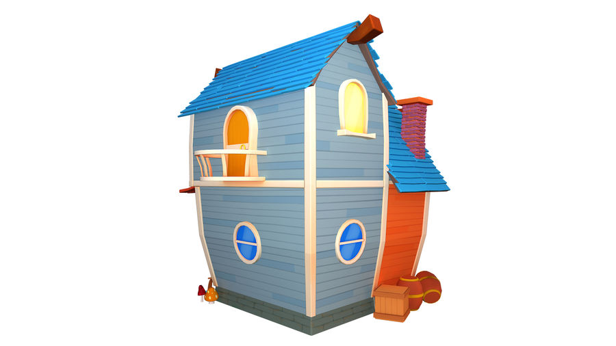 Asset - Cartoons - Background - House 3D model royalty-free 3d model - Preview no. 5