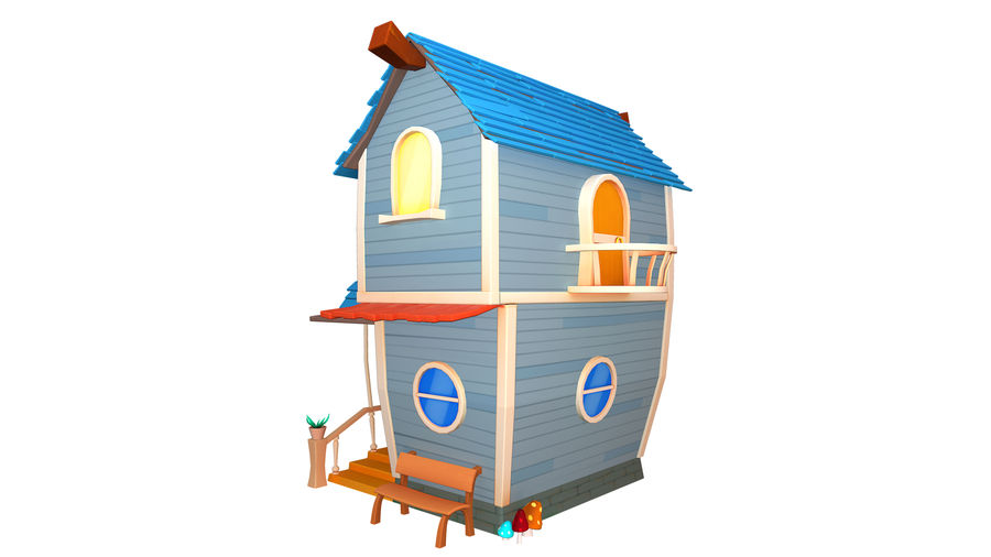 Asset - Cartoons - Background - House 3D model royalty-free 3d model - Preview no. 7
