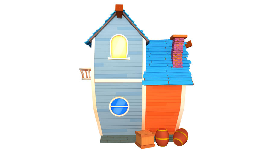 Asset - Cartoons - Background - House 3D model royalty-free 3d model - Preview no. 4