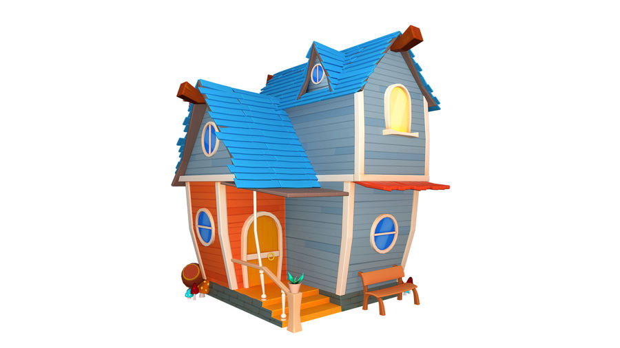 Asset - Cartoons - Background - House 3D model royalty-free 3d model - Preview no. 1