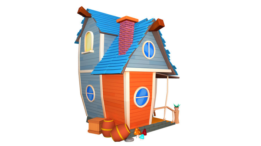 Asset - Cartoons - Background - House 3D model royalty-free 3d model - Preview no. 3
