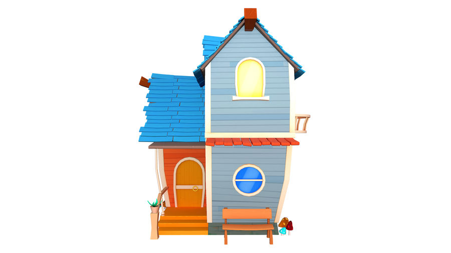 Asset - Cartoons - Background - House 3D model royalty-free 3d model - Preview no. 8