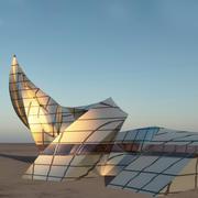 Curl sci -fi building 3d model