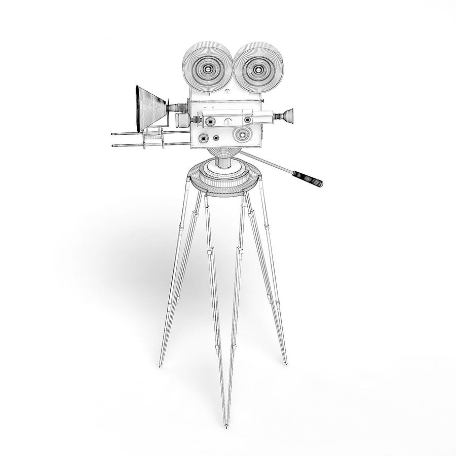 Vintage Movie Camera 3D Model royalty-free 3d model - Preview no. 6