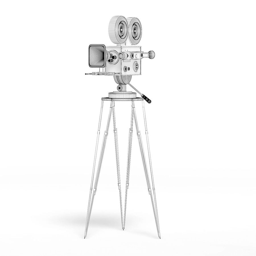 Vintage Movie Camera 3D Model royalty-free 3d model - Preview no. 2
