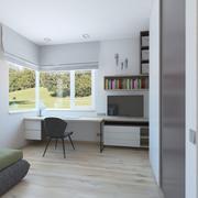Простая детская комната с мягкой кроватью 3d model
