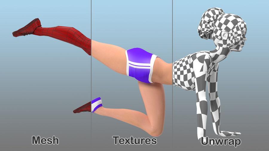 Tecknad ung flicka som gör övning royalty-free 3d model - Preview no. 3