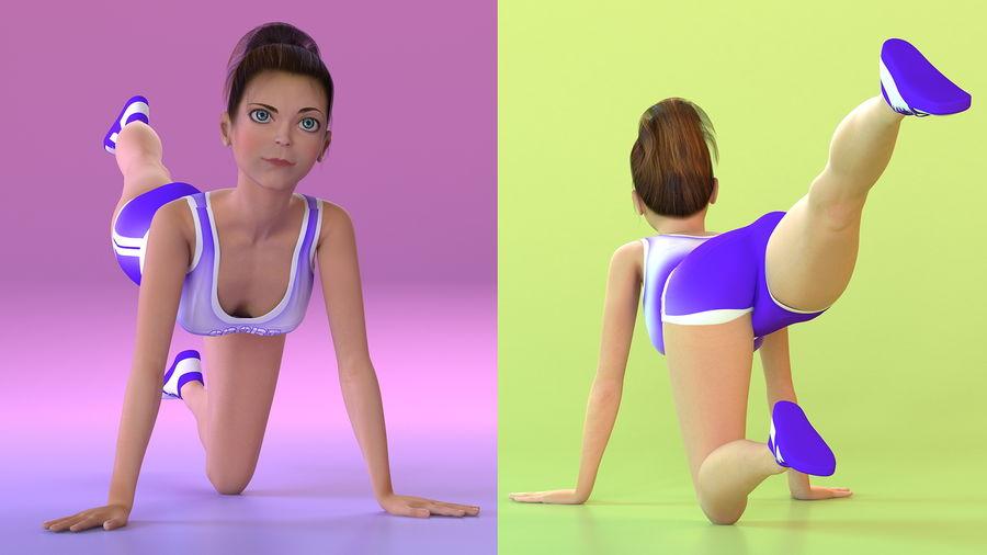 Tecknad ung flicka som gör övning royalty-free 3d model - Preview no. 4